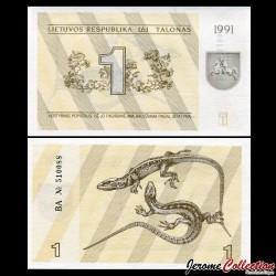 LITUANIE - Billet de 1 Talonas - Lézards - 1991 P32b