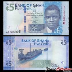 GHANA - Billet de 5 Cedis - 60 ans de banque centrale - 2017 P43a
