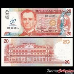 PHILIPPINES - Billet de 20 Piso - 60ème anniversaire - 2009