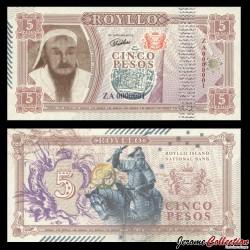 ROYLLO ISLAND - Billet de 5 Pesos - Gengis Khan - 2018