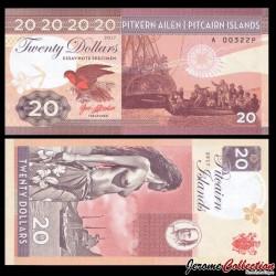 PITCAIRN - Billet de 20 Dollars - Bateau Bounty - Vahiné - 2017