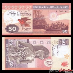 PITCAIRN - Billet de 50 Dollars - Bateau Bounty - Vahiné - 2017 0050 - Gabris