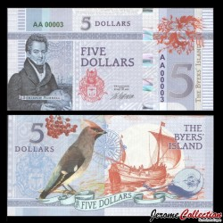 BYERS ISLAND - Billet de 5 Dollars - Oiseau - 2018