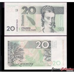 ALLEMAGNE - Billet de 20 Deutsche Mark - Annette von Droste-Hülshoff - 2014