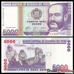 PEROU - Billet de 5000 Intis - 28.06.1988 P137a