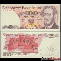 POLOGNE - Billet de 100 Złotych - Ludwik Warynski - 01.06.1986 P143e