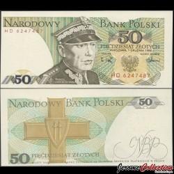 POLOGNE - Billet de 50 Złotych - Karol Świerczewski - 01.12.1988