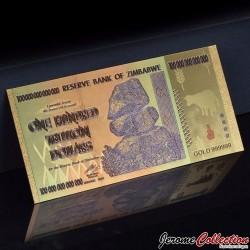 ZIMBABWE - Billet de 100000000000000 Dollars (100 Trillions) - Poissons - Doré - 2010 ZIM- 24k
