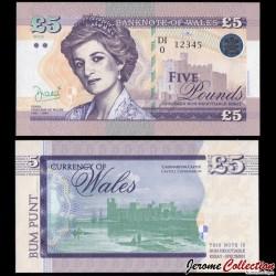 PAYS DE GALLES / WALES - Billet de 5 Pounds - Lady Diana - 2016 0005 - DIANA - Gabris