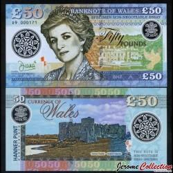 PAYS DE GALLES / WALES - Billet de 50 Pounds - Lady Diana - Polymer - 2017 0050 - DIANA - Gabris