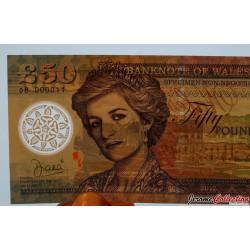 PAYS DE GALLES / WALES - Billet de 50 Pounds - Lady Diana - Polymer - 2017