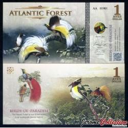ATLANTIC FOREST - Billet de Billet de 1 Aves - Oiseaux Du Paradis - 2015