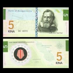 BOUGAINVILLE - Billet de 5 Kina - Série Scientifiques - Galilée - 2013