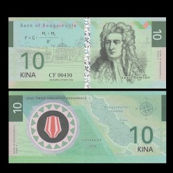 BOUGAINVILLE - Billet de 10 Kina - Série Scientifiques - Isaac Newton - 2016