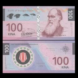 BOUGAINVILLE - Billet de 100 Kina - Série Scientifiques - Charles Darwin - 2016