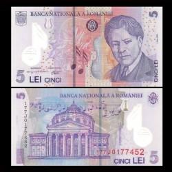 ROUMANIE - Billet de 5 Lei - George Enescu - Polymer - 2017