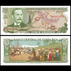 COSTA RICA - Billet de 5 Colones - orchidée - 1983