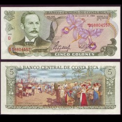 COSTA RICA - Billet de 5 Colones - orchidée - 1989