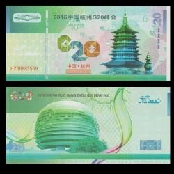 CHINE - Billet de 20 Yuan - Sommet du G20 - 2016