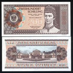 AUTRICHE - Billet de 200 Shilling - Élisabeth en Bavière (Sissi L'impératrice) 2015