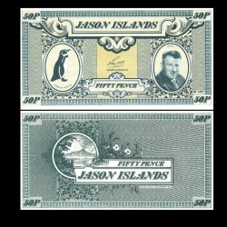 ÎLES JASON / MALOUINES - Billet de 50 Pence - Manchot de Humboldt - 1979