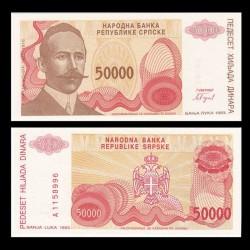 BOSNIE HERZEGOVINE - Billet de 50000 Dinara - Petar Kočić - 1993 P153a