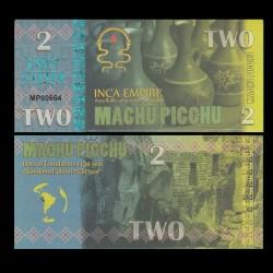 MACHU PICCHU - Billet INCA de 2 Machu Picchu - 2016