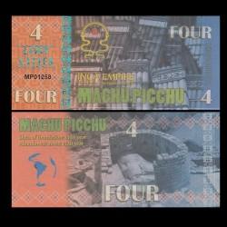 MACHU PICCHU - Billet INCA de 4 Machu Picchu - 2016 0004