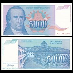 YOUGOSLAVIE - Billet de 5000 Dinara - Dositej Obradović - 1994