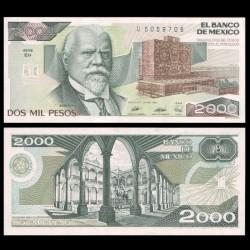 MEXIQUE - BILLET de 2000 Pesos - Justo Sierra - 1989 P86c5
