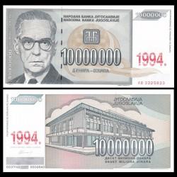 YOUGOSLAVIE - Billet de 10000000 Dinara - Ivo Andrić - 1994