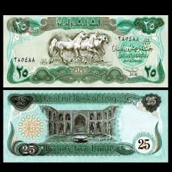 IRAK - Billet de 25 Dinars - Chevaux Pur sang - Guerre du Golfe - 1990