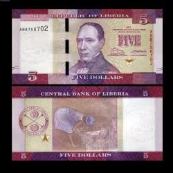 LIBERIA - Billet de 5 DOLLARS - 2017