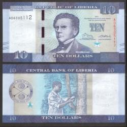LIBERIA - Billet de 10 DOLLARS - 2017 P32b