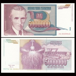 YOUGOSLAVIE - Billet de 5000000 Dinara - Nikola Tesla - 1993
