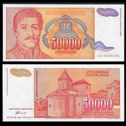 YOUGOSLAVIE - Billet de 50000 Dinara - Karageorges - 1994