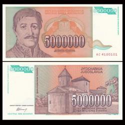 YOUGOSLAVIE - Billet de 5000000 Dinara - Karageorges - 1993