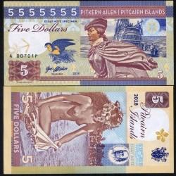 PITCAIRN - Billet de 5 Dollars - Bateau Bounty - Vahiné - 2018 0005 - Gabris