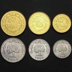 TUNISIE - SET / LOT de 6 PIECES de 1 2 5 10 20 50 millimes - 1960 1997 2005 2007