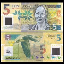SUEDE - Billet de 5 KRONOR - Polymer - SOFIA HELIN - 2016