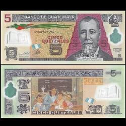 GUATEMALA - Billet de 5 Quetzales - Polymer - 20 03 2013