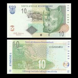 AFRIQUE DU SUD - Billet de 10 Rand - Rhinoceros et son petit - 2009