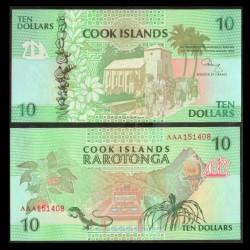 ILES COOK - BILLET de 10 DOLLARS - Église d'Avarua - 1992 P8a