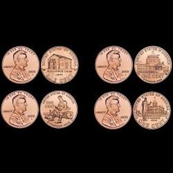 ETATS UNIS / USA - SET / LOT de 4 PIECES de 1 Cent - 200e anniversaire de la naissance de Lincoln - 2009 Km#441 442 443 444