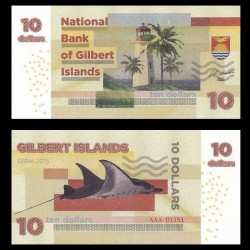 GILBERT ISLANDS / KIRIBATI- Billet de 10 Dollars - Raie Manta - 2015