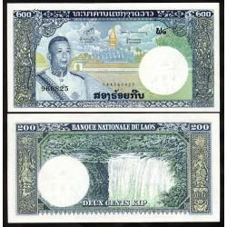LAOS - Billet de 200 Kip - Roi Savang Vatthana - 1963