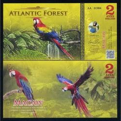 ATLANTIC FOREST - Billet de 2 Aves - Ara - 2015