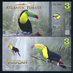 ATLANTIC FOREST - Billet de 3 Aves - Toucan - 2015