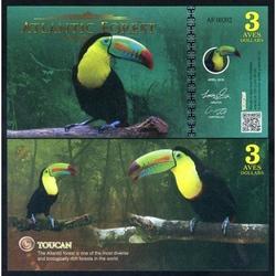 ATLANTIC FOREST - Billet de 3 Aves - Toucan - 2016