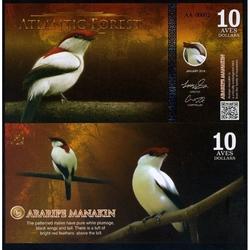 ATLANTIC FOREST - Billet de 10 Aves - Manakin de Bokermann - 2016